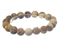 Brown Natural 8mm Stone Bead Stretch Bracelet