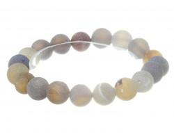 Gray Natural 8mm Stone Bead Stretch Bracelet
