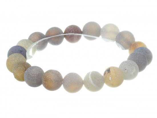 Gray Natural 8mm Stone Bead Stretch Bracelet