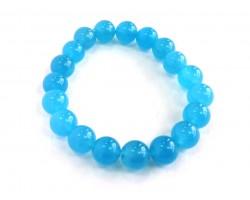 Light Blue Natural 10mm Stone Bead Stretch Bracelet