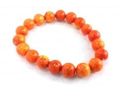 Light Orange Natural 10mm Stone Bead Stretch Bracelet