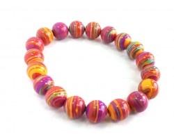 Multi Paint Layers 10mm Beads Stretch Bracelet