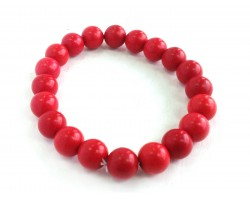 Red Natural Stone 10mm Bead Stretch Bracelet