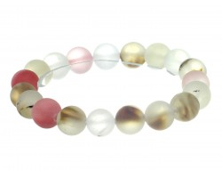 Rose Mix Natural 8mm Stone Bead Stretch Bracelet