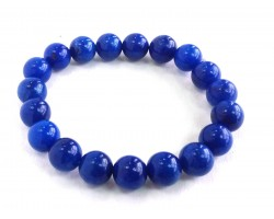 Blue Natural 10mm Stone Bead Stretch Bracelet