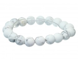 White Natural 8mm Stone Bead Stretch Bracelet