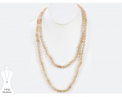 Beige Natural 8mm Stone Bead 60 Necklace