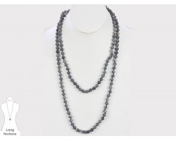 Black Natural 8mm Stone Bead 60 Necklace