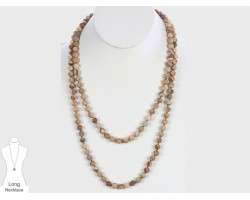 Brown Natural 8mm Stone Bead 60 Necklace