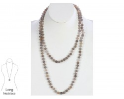 Gray Natural 8mm Stone Bead 60 Necklace
