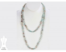 Green Natural 8mm Stone Bead 60 Necklace
