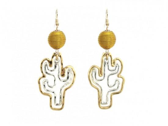 Cord Wrap Bead Cactus Outline Hook Earrings