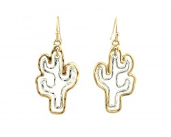 Gold Silver Cactus Outline Hook Earrings