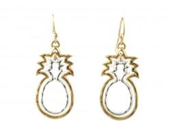 Gold Silver Pineapple Outline Hook Earrings