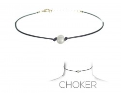 Black Leather Cord Freshwater Pearl Choker