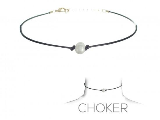 Black Leather Cord Freshwater Pearl Choker