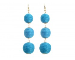 Aqua Thread Wrap Ball Hook Earrings