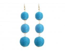 Aqua Cord Wrap Ball Hook Earrings