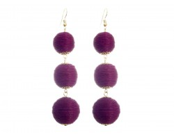Burgundy Cord Wrap Ball Hook Earrings
