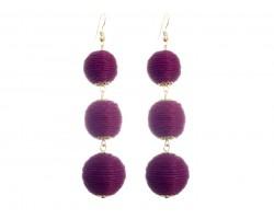 Burgundy Cord Wrap Ball Hook Earrings