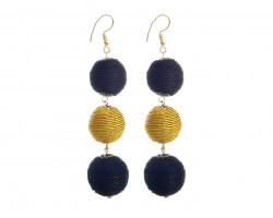 Black Gold Cord Wrap Ball Hook Earrings