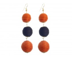 Orange Black Cord Wrap Ball Hook Earrings