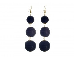 Black Cord Wrap Ball Hook Earrings
