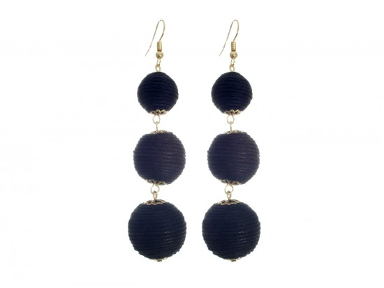 Black Thread Wrap Ball Hook Earrings
