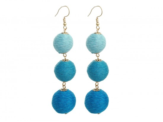 Blue Multi Cord Wrap Ball Hook Earrings