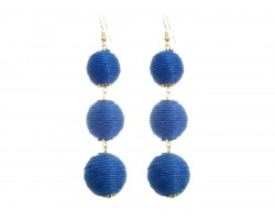 Blue Thread Wrap Ball Hook Earrings
