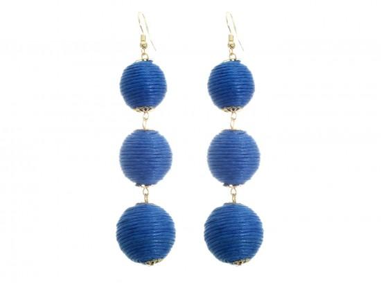 Blue Cord Wrap Ball Hook Earrings