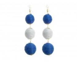 Blue White Cord Wrap Ball Hook Earrings