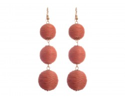 Coral Cord Wrap Ball Hook Earrings