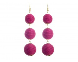 Fuchsia Cord Wrap Ball Hook Earrings