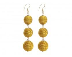 Gold Cord Wrap Ball Hook Earrings