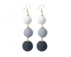 Gray Multi Cord Wrap Ball Hook Earrings