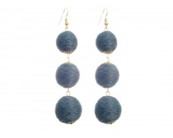 Gray Cord Wrap Ball Hook Earrings
