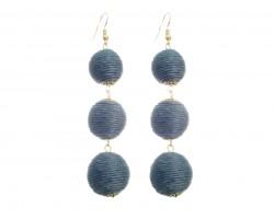Gray Cord Wrap Ball Hook Earrings