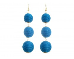Light Blue Cord Wrap Ball Hook Earrings