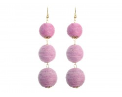 Light Pink Cord Wrap Ball Hook Earrings