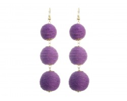 Light Purple Cord Wrap Ball Hook Earrings
