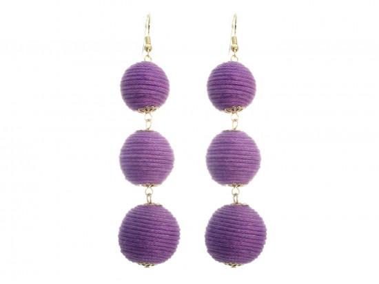 Light Purple Cord Wrap Ball Hook Earrings