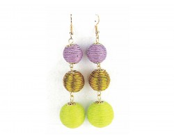 Mardi Gras Color Cord Wrap Ball Hook Earrings
