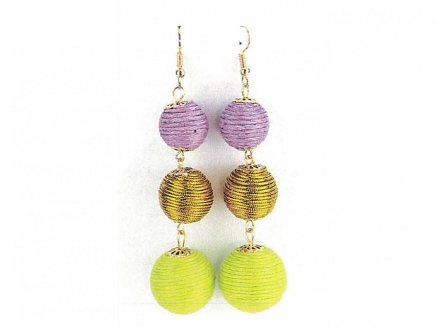 Mardi Gras Color Cord Wrap Ball Hook Earrings