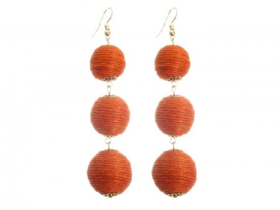 Orange Cord Wrap Ball Hook Earrings