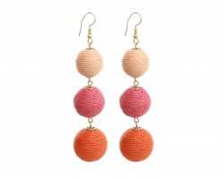 Orange Multi Cord Wrap Ball Hook Earrings