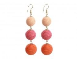Orange Multi Cord Wrap Ball Hook Earrings