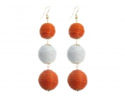 Orange White Cord Wrap Ball Hook Earrings