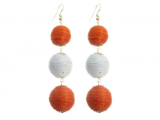 Orange White Cord Wrap Ball Hook Earrings