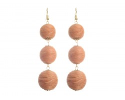Peach Cord Wrap Ball Hook Earrings
